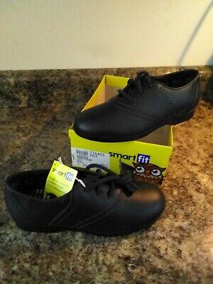 Smart Fit Saddle Shoes For Girls sz 1 1/2 NIB black leather laces skid resistant