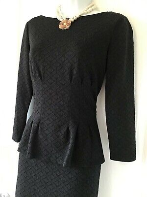 $134 Lauren Ralph Lauren Black Dress 4-6 peplum boat neck  3/4 sleeve Stretchy