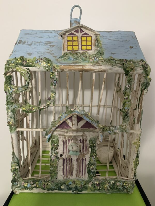 Vintage wood handmade hand painted birdcage - In Great Condition Free Shipping