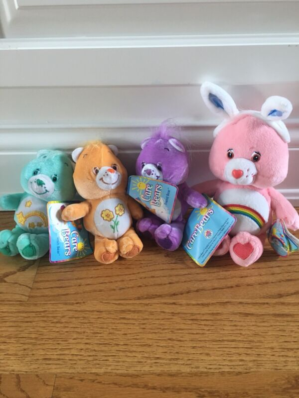 """2003 6"""" Care Bears Plush Wish, Share, Friend, & Happy Easter Bears New With Tags"""