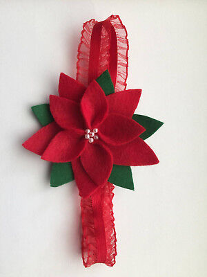 Christmas Holiday Felt Poinsettia Flower Headband - Red Green Handmade (Xmas Headbands)