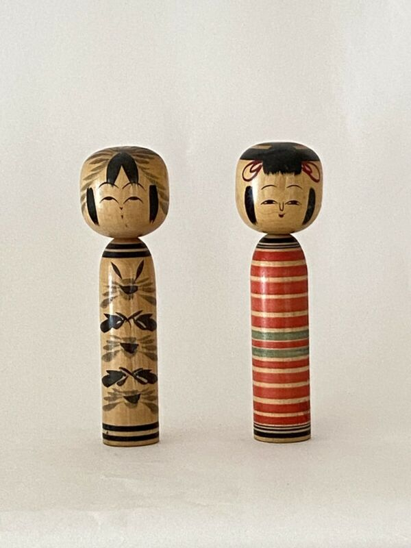 Kokeshi Dolls Pair Wooden Japanese Traditional Signed Folk Craft Vintage