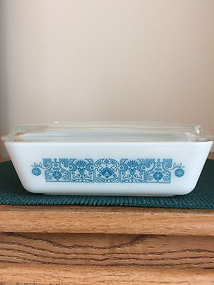 Vintage Pyrex Horizon Blue Refrigerator Dish 503 With Lid ~ 1 1/2 Quart