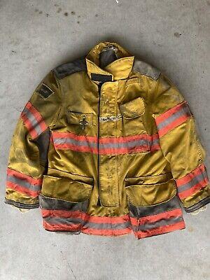 Firefighter Janesville Lion Apparel Turnout Coat 46x32 Inch 2005 Orange Trim