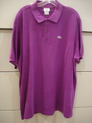 Men's Lacoste Purple Short Sleeve Polo Shirt Size 7 Chest 48 X 33