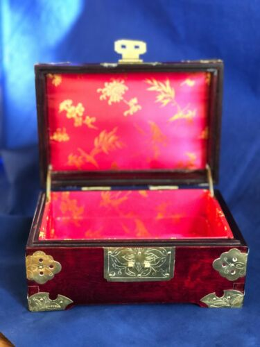 Vintage Chinese Jade Jadeite Inlayed Ornate Wooden Jewelry Box Crafted Brass