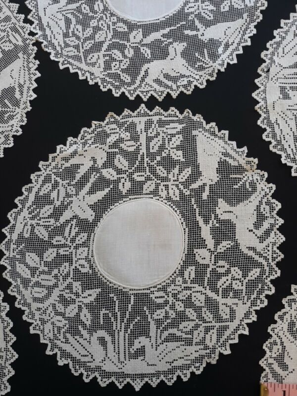 8 Exquisite linen and lace matching doilies with animal motif 10 inch
