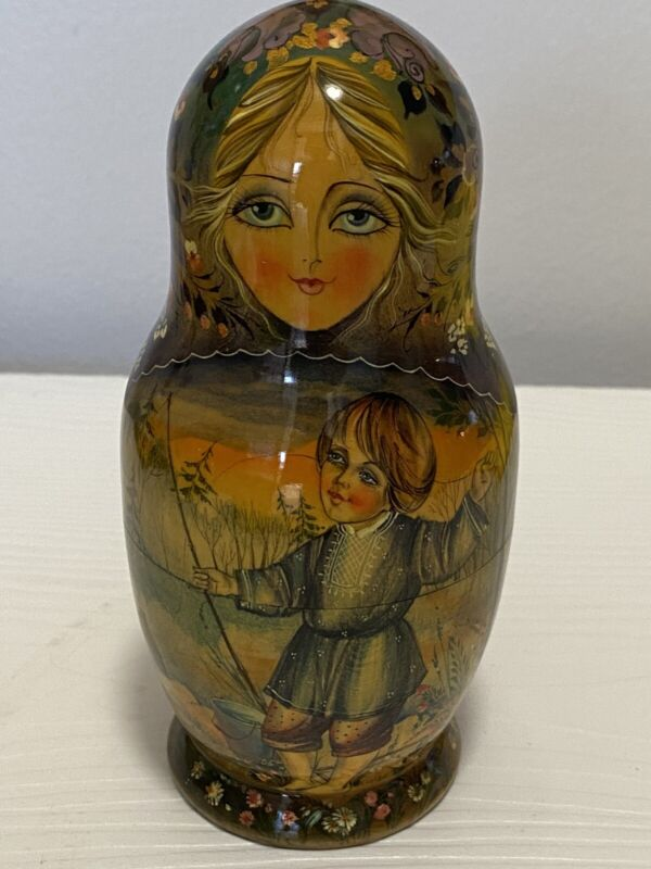 Russian Lacquered Matryoshka Nesting Doll Children In Woods Artist Signed 1996