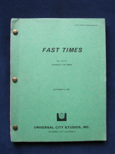 ORIGINAL SCRIPT for FAST TIMES AT RIDGEMONT HIGH by CAMERON CROWE wi SEAN PENN
