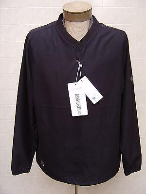 Ashworth Men Drawstring Lightweight VNeck Wind Golf Polo L Jacket Coat Black -