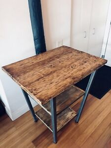 CUSTOM ROLLED STEEL & RECLAIMED WOOD KITCHEN ISLAND BAR HEIGHT