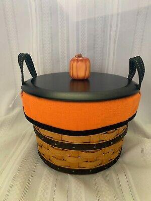 Longaberger Small Bushel Basket Halloween Boo Liner, Protector, Pumpkin Lid