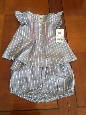 baby b'gosh girls 9-12m Blue with white stripes two piece Outfit Blue Infant Two Piece