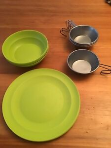 Camping plates, bowls and cups