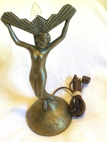 Antique Vintage Art Deco Cast Woman Lady Nude Table Lamp