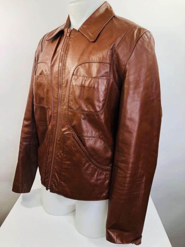 70s Amazing Vintage WILSONS LEATHER Full Zip Brown Sz. Medium Mens Jacket Coat