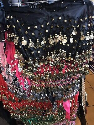 1 BELLY DANCE HIP SKIRT/SCARF/ 3 ROWS BEADS & COINS COSTUME Zumba