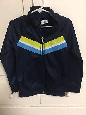 Nike Youth Kids Warm up Track Soccer Jacket Blue Stripes Zip Up Size L - 6