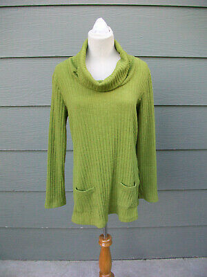Lana Lee Sweater Sz L Green Cowl Neck Rib Knit Polyester Spandex Long Sleeve