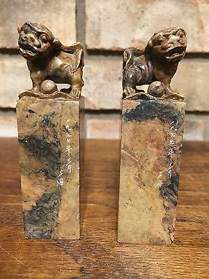 PAIR OLD CHINESE ORIENTAL ASIAN FOO FU DOG HAND CARVED STAMP SEAL SIGNED MARBLE!
