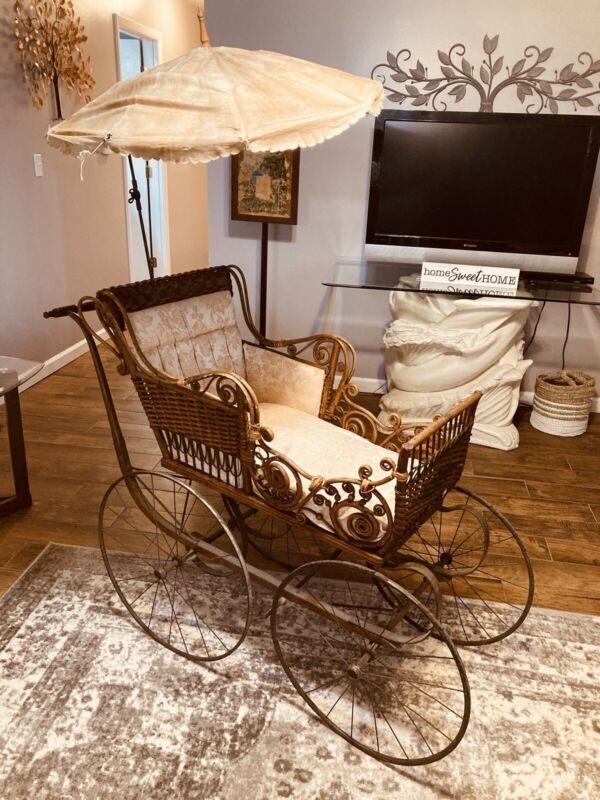 Antique Victorian Large Wicker Baby Carriage Buggy & Parasol Umbrella