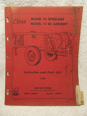 1960 John Bean Model 10 Speedaire Model 10 Rc Aircrop Instruction Parts List