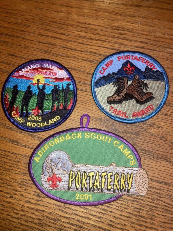 Lot 3 Boy Scout BSA Patches Camp Portaferry Trail Award Adirondack Woodland 2003