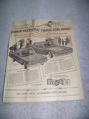 1960 Roanoke Times Va Ford Falcon Ford Fairlane 500 Newspaper Advertisement