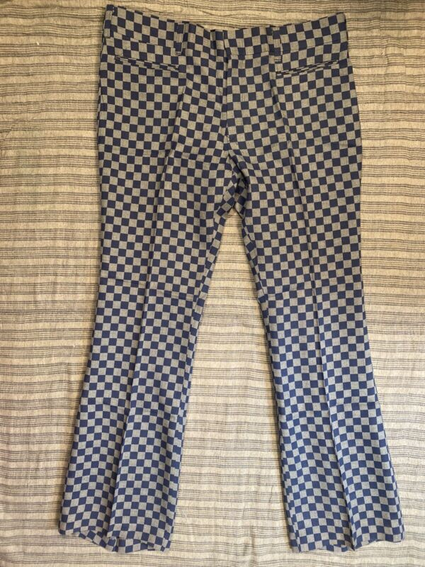 VTG 60s 70s TADS Pants 38x33 Blue Gray Checkered Lightweight Flare NOS Tag