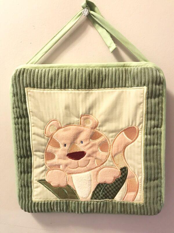 Baby Room Fabric Wall Hangings Set Of Four Jungle Theme Green Monkey Giraffe