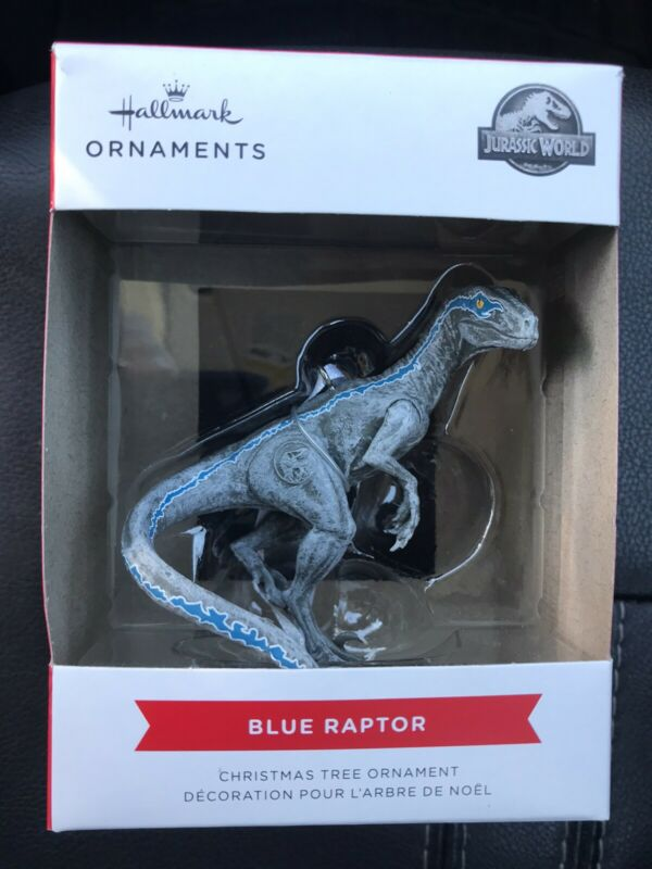 2021 Hallmark Red Box Jurassic World Blue Raptor Christmas Tree Ornament