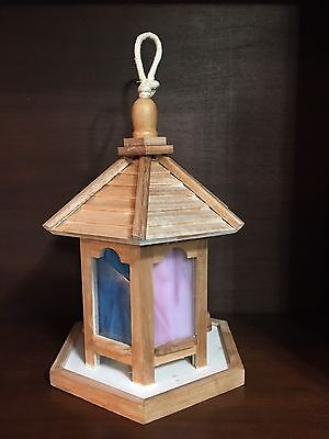 Stained Glass Pink And Blue Bird Feeder -