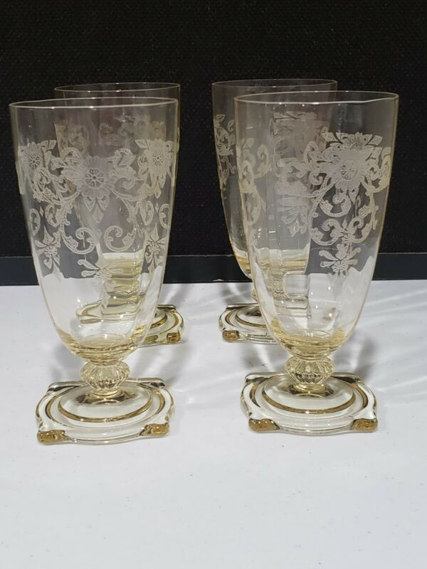 """SET of 4 HEISEY GLASS CARCASSONNE YELLOW SAHARA 5 3/4"""" WATER GOBLET TUMBLERS"""