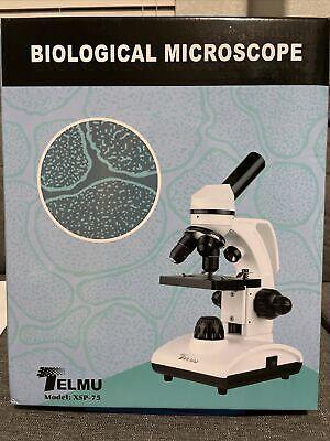 Telmu Microscope 40x-1000x Dual Cordless Led Illumination Lab Compound Monocular