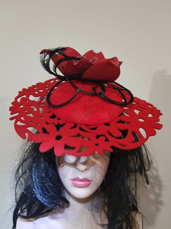 Fascinator millinery hat races costume red