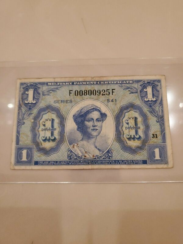 $1 One Dollar Military Payment Certificate Series 541 MPC  USA plate position 31