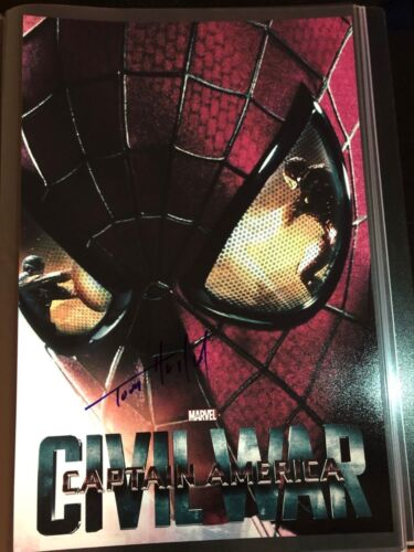 TOM HOLLAND SIGNED CAPTAIN AMERICA CIVIL WAR 12X18 POSTER PHOTO SPIDER-MAN AUTO2