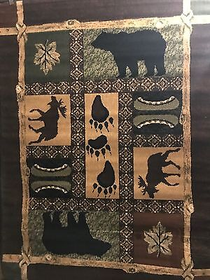 Combo Of Two Fall Lodge black bear rug for the home 8x10 Room Size just in!!!!