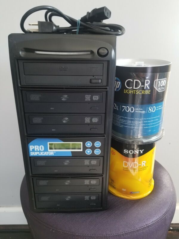 Produplicator 1 to 5 CD DVD Duplicator 100 DVDs 100 CDs ESDVDS24X05