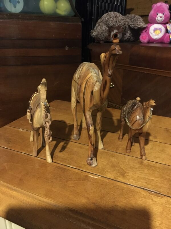 Camel Set 3 ,Carved Wood. From Morocco