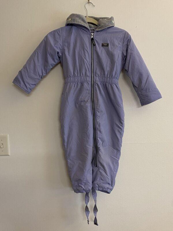 L.L.Kids by L.L.Bean Size 4T Waterproof Nylon Snowsuit Lavender Snowmobile Suit