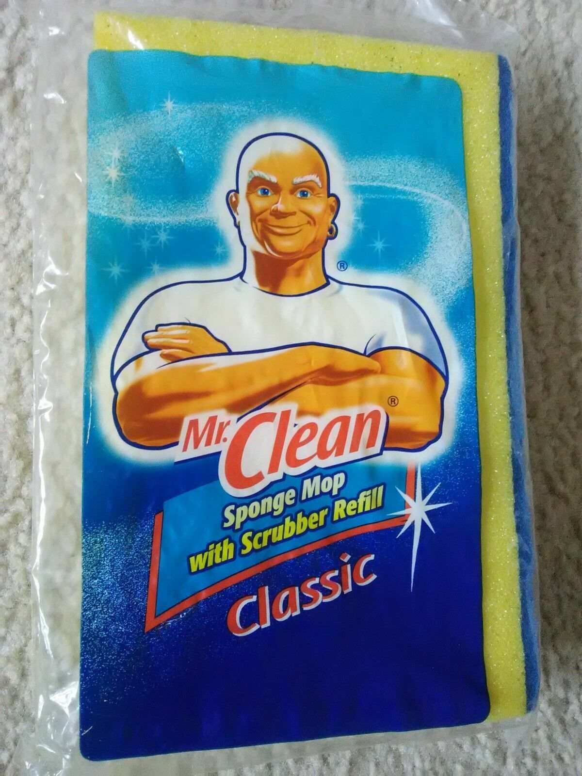 Mr Clean Classic Sponge Mop Refill With Scrubber 456977 For