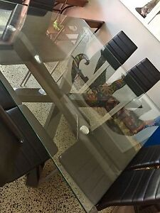 8 seater square glass dining table and chairs Westmeadows Hume Area Preview