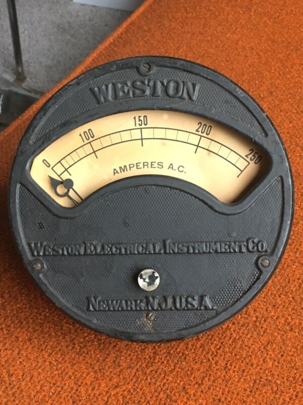 Vintage Industrial Antique Weston Electrical Instruments Amp Meter, Panel Mount