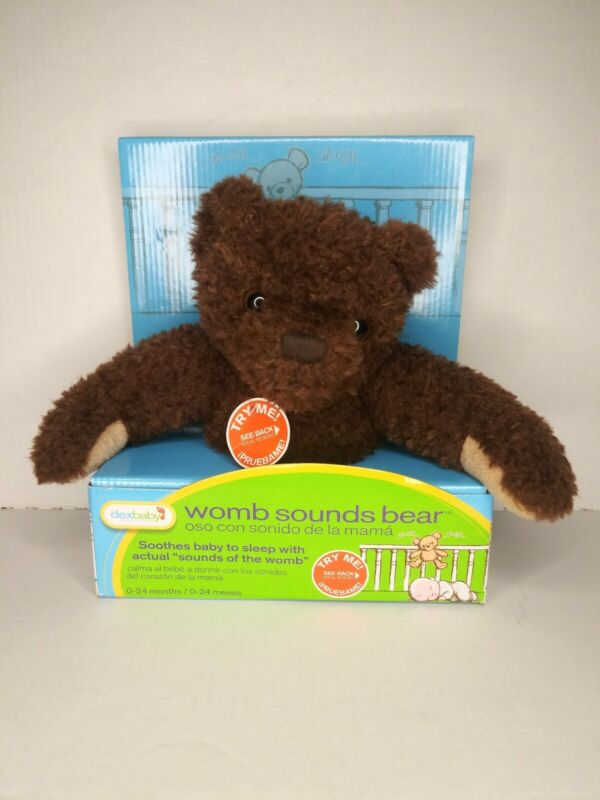 NEW Dex Baby Womb Heartbeat Sounds Brown Bear Infant Soother Toy Plush