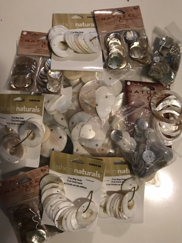 Mother Of Pearl Shell Connector Jewelry Craft Beads Huge Lot Butterfly Hearts