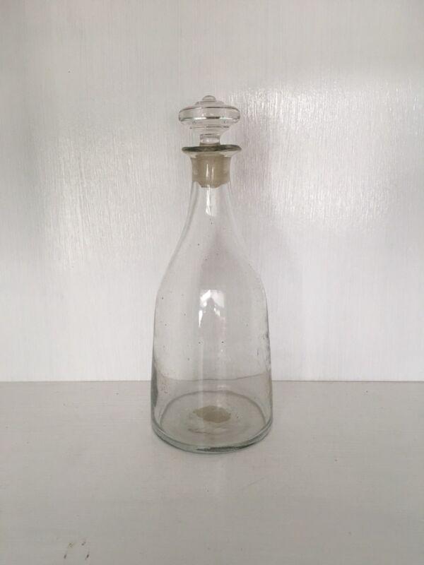 Antique Clear Glass Blown Decanter Stopper Circa 1840