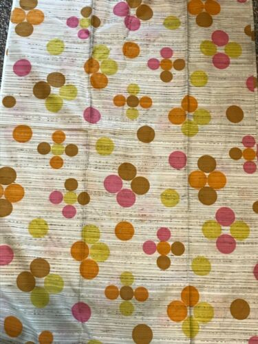 "3 7/8 yds X 43"" VINTAGE MID CENTURY CIRCLES Pink Orange Chartruese Cotton Fabric"
