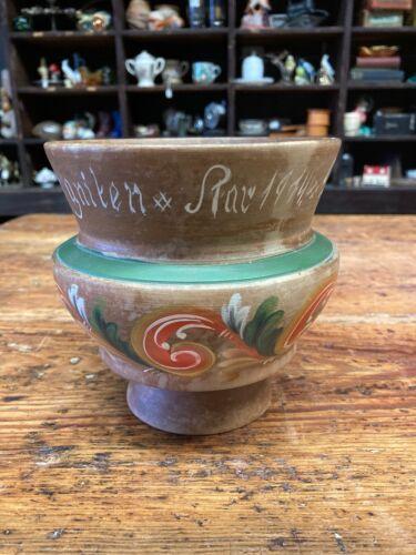 Vintage Carved Painted Wooden Bowl