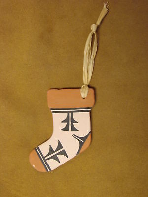 Jemez Indian Pueblo Handmade Clay Christmas Stocking Ornament by Bailon